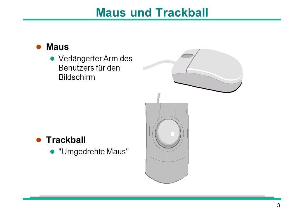 3 Maus und Trackball l Maus l Verlängerter Arm des Benutzers für den Bildschirm l Trackball l