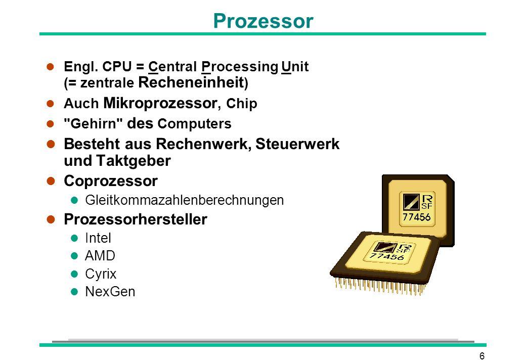 6 l Engl. CPU = Central Processing Unit (= zentrale Recheneinheit ) l Auch Mikroprozessor, Chip l