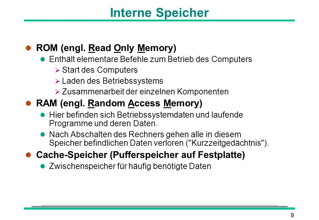 20 Fest- und Wechselplatten l Festplatte l Dauerhafte Datenspeicherung l Größenangabe in Gigabyte (GB) 1024 MB = 1 GB l Schnelle Zugriffszeit (ca.