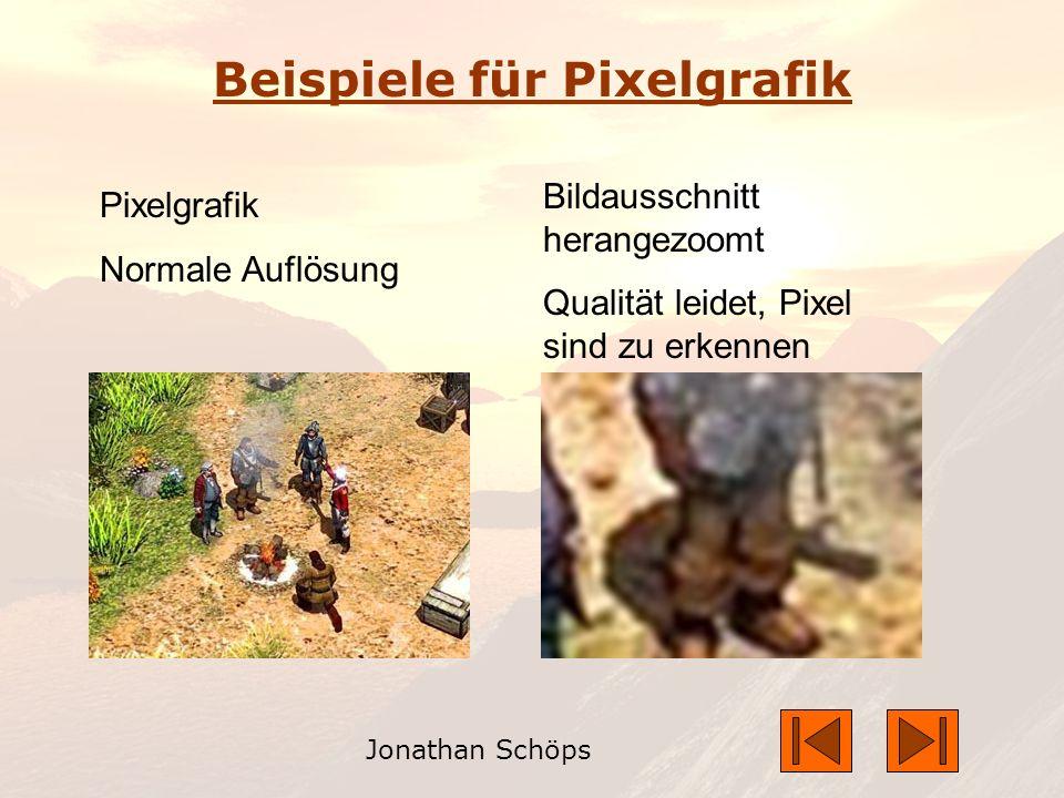 Jonathan Schöps Beispiele für Pixelgrafik Pixelgrafik Normale Auflösung Bildausschnitt herangezoomt Qualität leidet, Pixel sind zu erkennen
