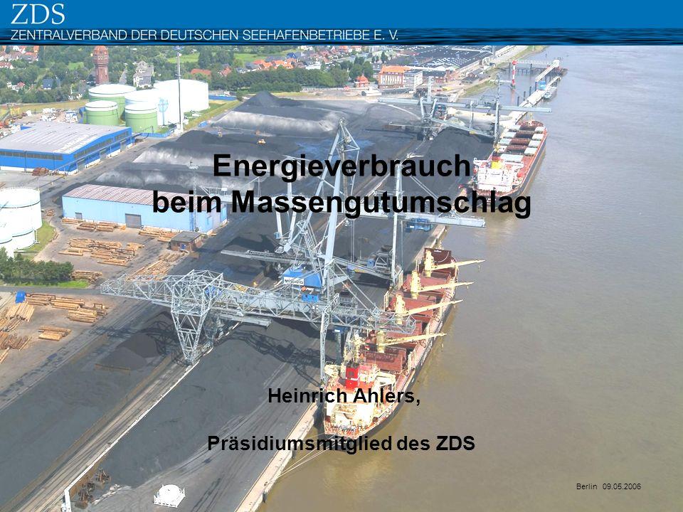 Energieverbrauch beim Massengutumschlag Heinrich Ahlers, Präsidiumsmitglied des ZDS Berlin 09.05.2006