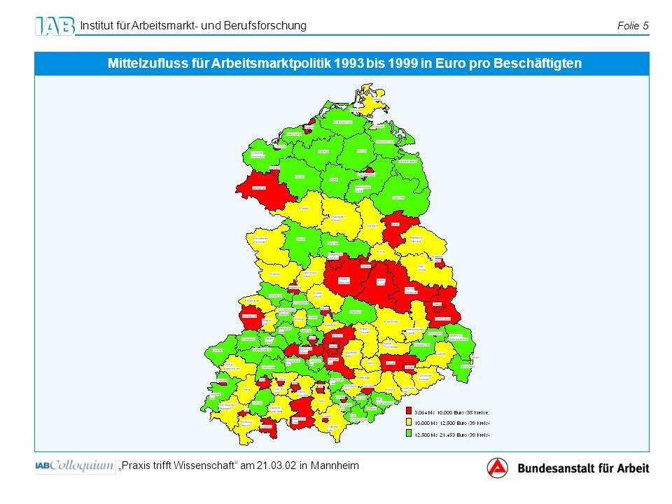 Institut für Arbeitsmarkt- und Berufsforschung Folie 5 Praxis trifft Wissenschaft am 21.03.02 in Mannheim Mittelzufluss für Arbeitsmarktpolitik 1993 b