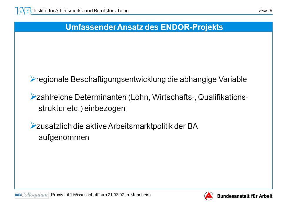 Institut für Arbeitsmarkt- und Berufsforschung Folie 6 Praxis trifft Wissenschaft am 21.03.02 in Mannheim regionale Beschäftigungsentwicklung die abhä