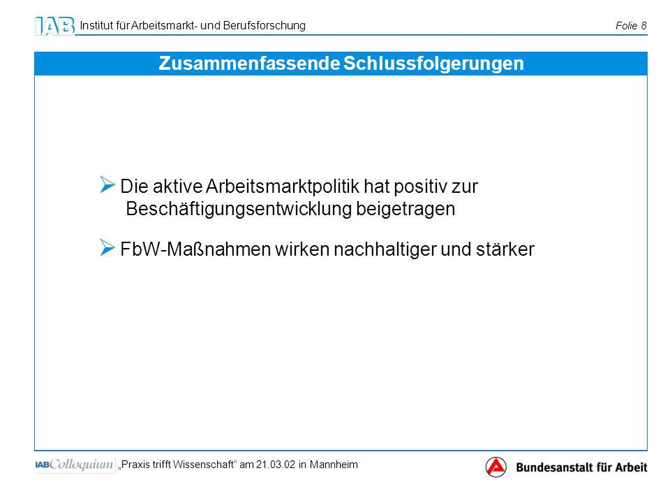 Institut für Arbeitsmarkt- und Berufsforschung Folie 8 Praxis trifft Wissenschaft am 21.03.02 in Mannheim Die aktive Arbeitsmarktpolitik hat positiv z
