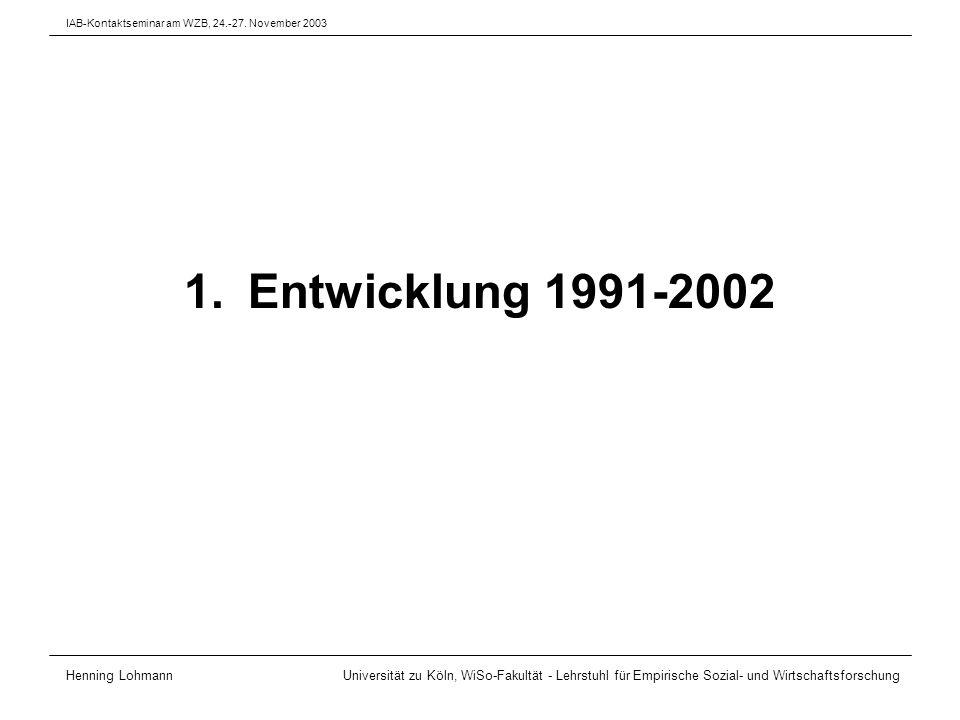 Daten Verwendete Datensätze –Enquête Emploi 1994 (Frankreich) –Mikrozensus 1996 (Deutschland) –Rilevazione Trimestrale delle Forze di Lavoro 1996 (Italien) –Labour Force Survey 1996 (Großbritannien) –Arbetskraftundersökningarna 1997 (Schweden) –Current Population Survey – Annual Demographic File 1996 (USA) Grundgesamtheit –Alter 20-59 Jahre –Erwerbstätige, Haupterwerbstätigkeit –keine mithelfenden Familienangehörigen –keine Landwirtschaft Henning Lohmann Universität zu Köln, WiSo-Fakultät - Lehrstuhl für Empirische Sozial- und Wirtschaftsforschung IAB-Kontaktseminar am WZB, 24.-27.