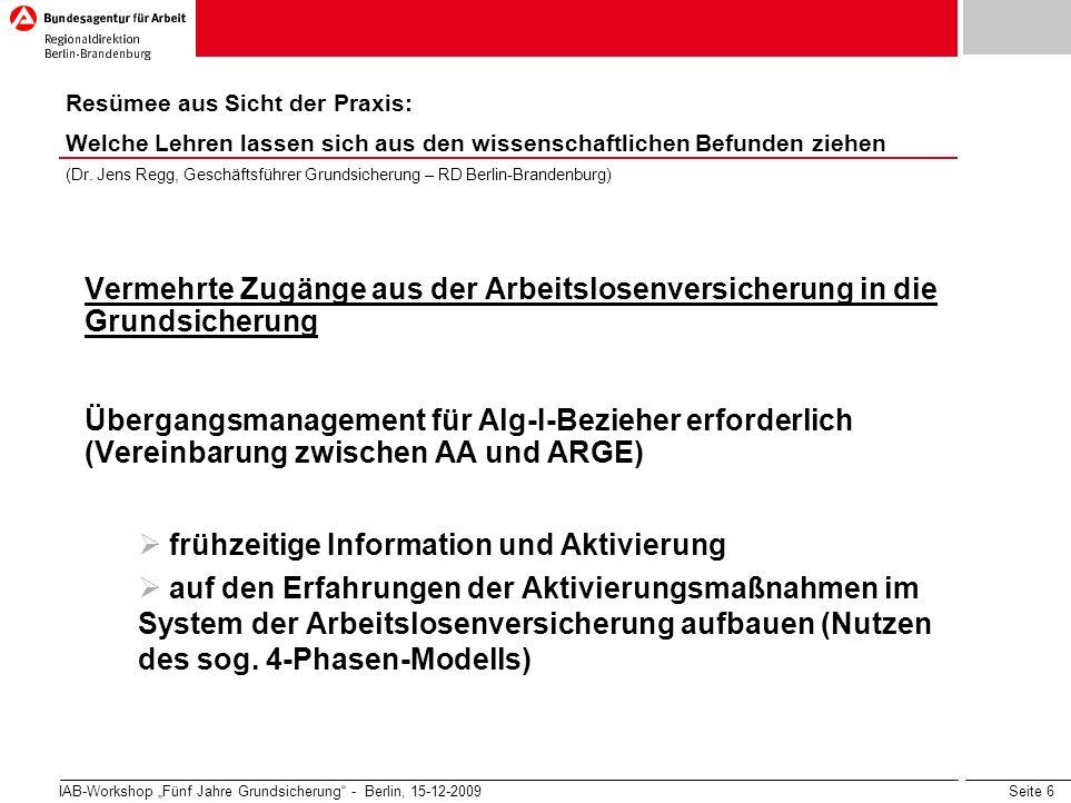 Seite 6 IAB-Workshop Fünf Jahre Grundsicherung - Berlin, 15-12-2009 Vermehrte Zugänge aus der Arbeitslosenversicherung in die Grundsicherung Übergangs