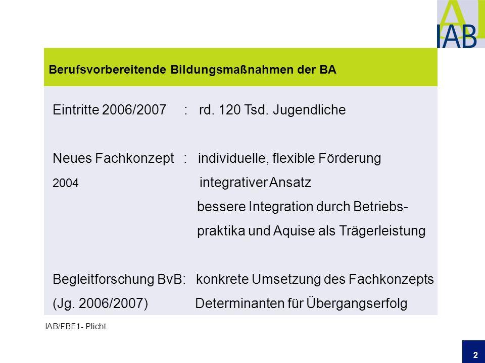 2 Berufsvorbereitende Bildungsmaßnahmen der BA IAB/FBE1- Plicht Eintritte 2006/2007 : rd.