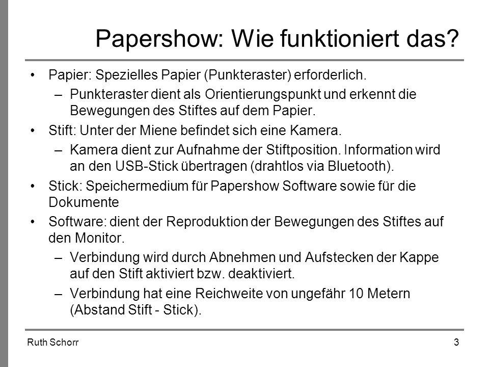 Ruth Schorr3 Papershow: Wie funktioniert das? Papier: Spezielles Papier (Punkteraster) erforderlich. –Punkteraster dient als Orientierungspunkt und er
