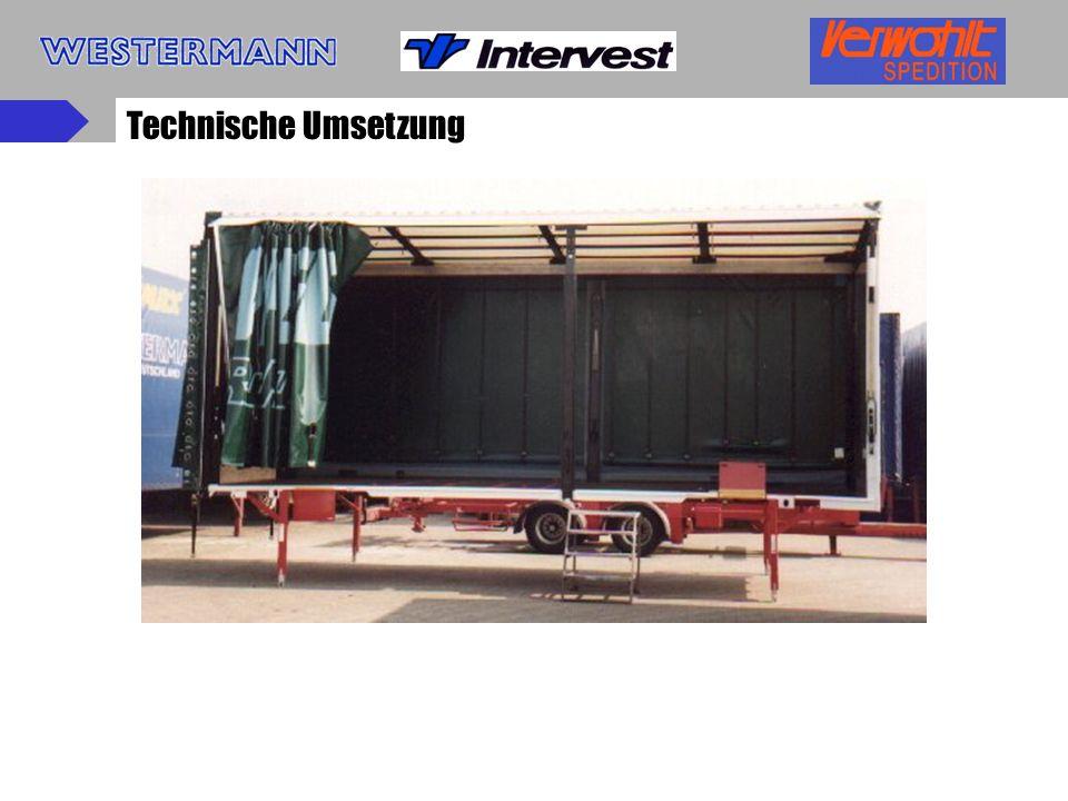 Organisatorische Umsetzung Prototypen wurden zunächst auf Testrelationen als Teilzüge auf permanente Einsatztauglichkeit geprüft Transport von Reifen, Autoteilen, Dämmstoffmaterialien, Dosen etc.