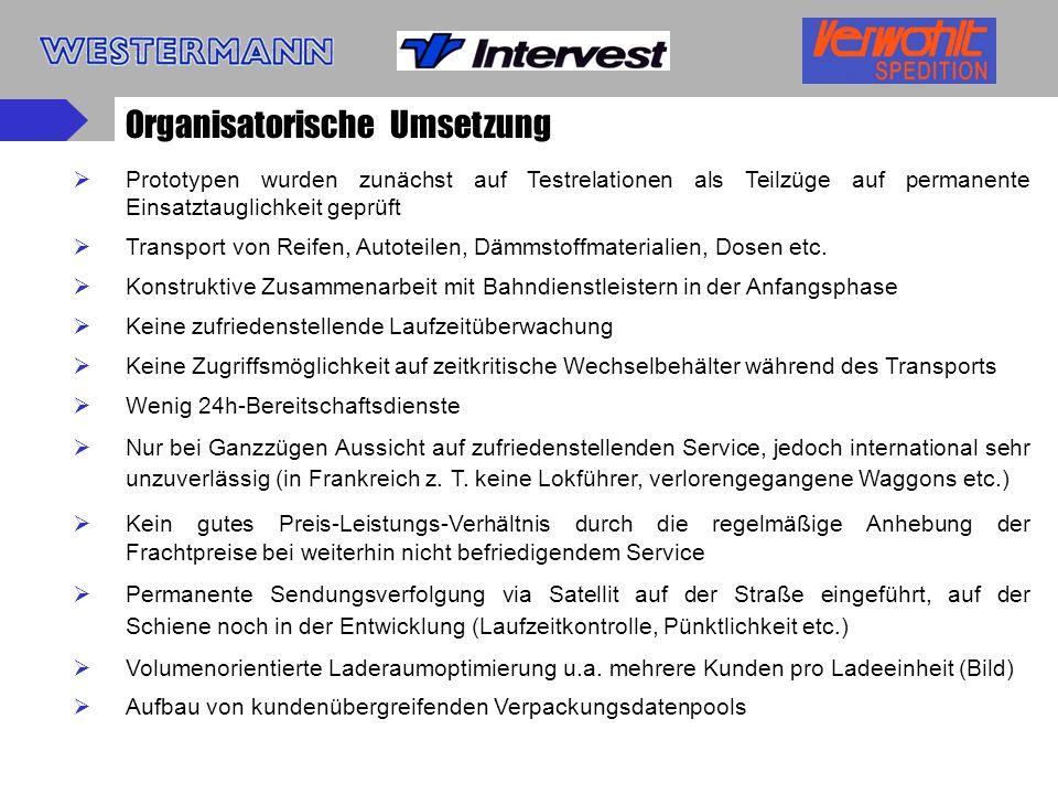 Gesamtwirtschaftliche Effekte Geplante Effekte (1997-2000) Verlagerung von Straße auf Schiene:31.000.000 km Vermeidung von Transport-km durch Laderaumoptimierung:42.000.000 km Gesamteffekt73.000.000 km Erzielte Effekte Verlagerung von Straße auf Schiene:50.554.000 km Vermeidung von Transport-km durch Optimierung:15.180.000 km Gesamteffekt65.734.000 km Hauptstrecken Köln – Valencia u.v.v.5 Abfahrten / Woche Saarbrücken – Valencia u.v.v.5 Abfahrten / Woche (Eisenach – Granollers u.v.v.3-4 Abfahrten / Woche) (Eisenach – Zaragoza u.v.v.3-4 Abfahrten / Woche)