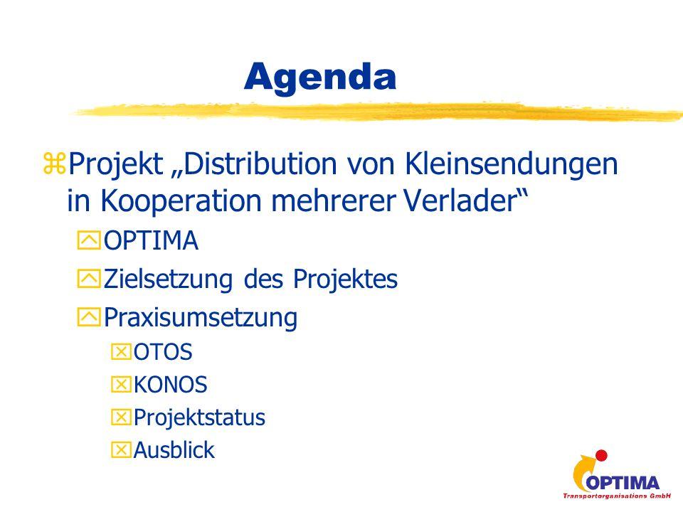 Agenda zProjekt Distribution von Kleinsendungen in Kooperation mehrerer Verlader yOPTIMA yZielsetzung des Projektes yPraxisumsetzung xOTOS xKONOS xProjektstatus xAusblick