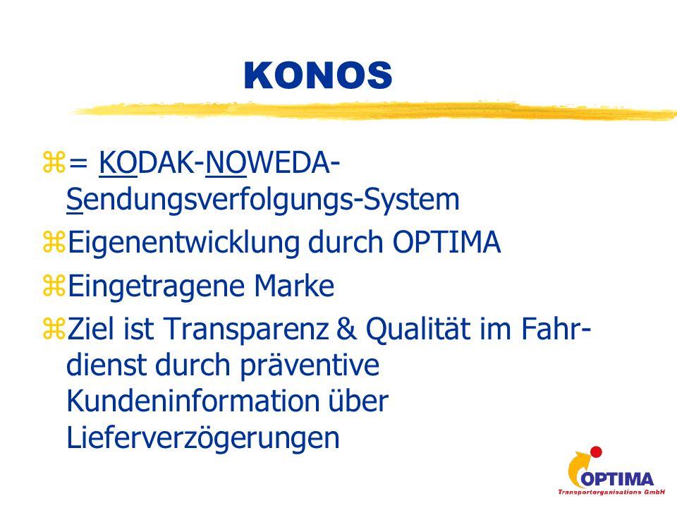 mobiles Datenerfassungsgerät (MDE) GSM - Netz Empfangsserver mit Datenclearing Datenbankserver, Applikations- und Webserver Frontend mit Webbrowser Internet KONOS
