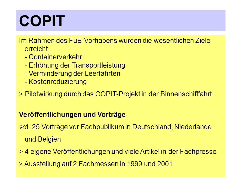 COPIT Nach- lauf Empfä nger Partikulier- gemeinschaft Binnenschiff- fahrtsspedition Verwal- tung Umschlag Absen- der Vorlauf Telefon, Telefax Daten, Telefon, Telefax