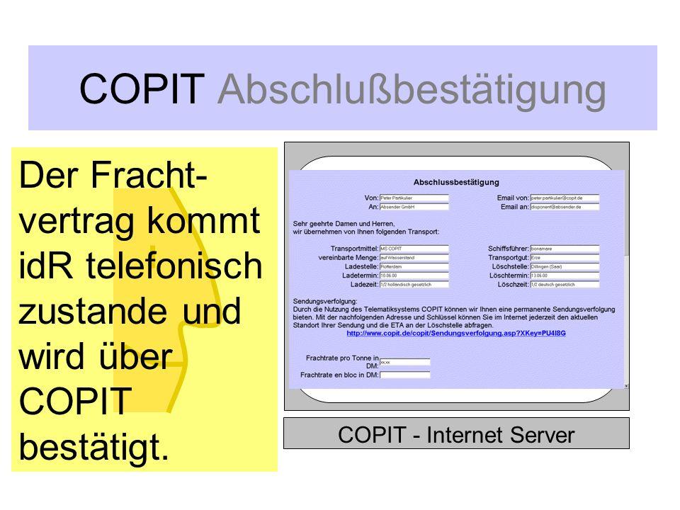 COPIT Schiffsraummanagement COPIT - Internet Server MS Duisburg MS Mainz MS COPIT...und erhält alle für ihn in Frage kommenden Schiffe, abgestuft