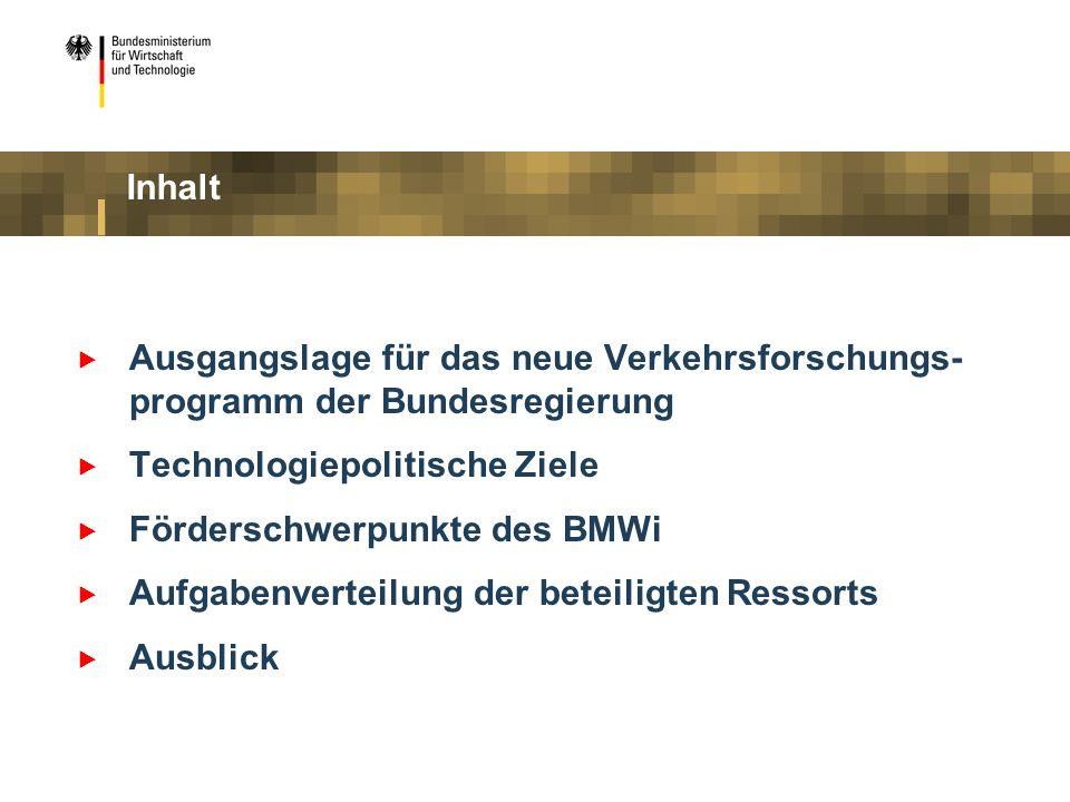 Ausgangslage für das neue Verkehrsforschungs- programm der Bundesregierung Technologiepolitische Ziele Förderschwerpunkte des BMWi Aufgabenverteilung