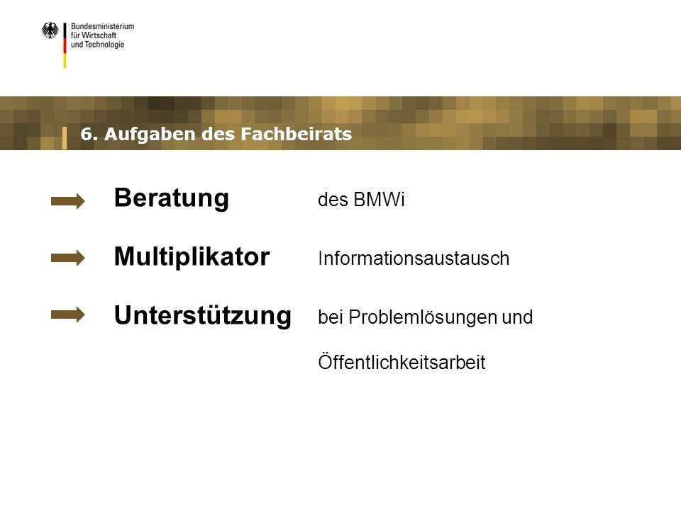 6. Aufgaben des Fachbeirats Beratung des BMWi Multiplikator Informationsaustausch Unterstützung bei Problemlösungen und Öffentlichkeitsarbeit