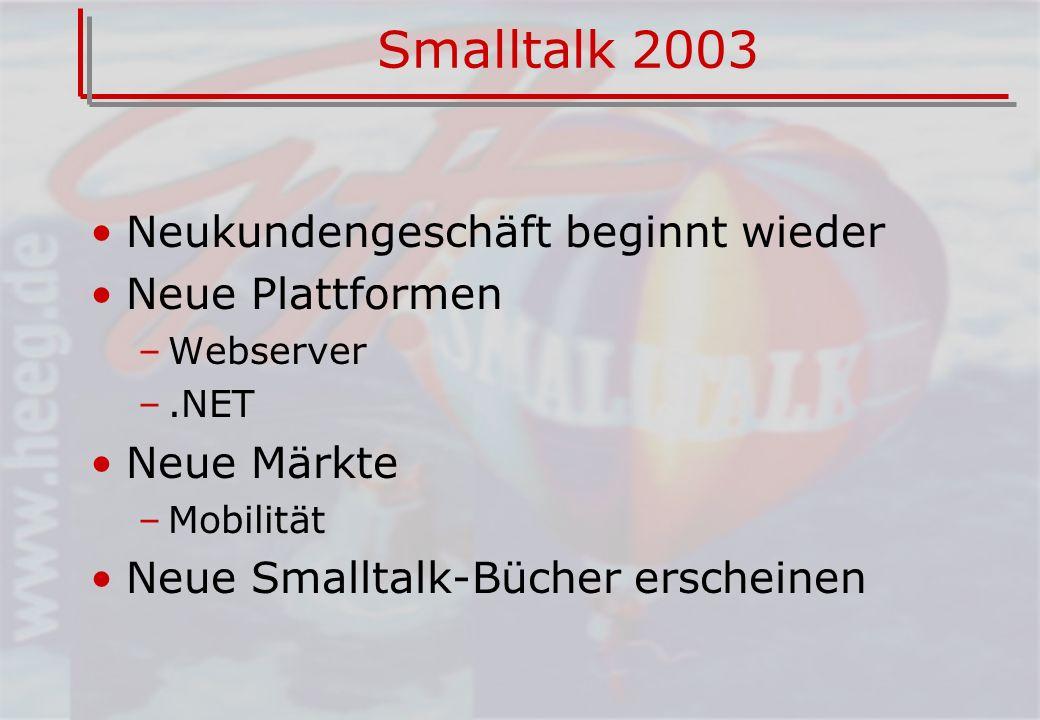 Smalltalk 2003 Neukundengeschäft beginnt wieder Neue Plattformen –Webserver –.NET Neue Märkte –Mobilität Neue Smalltalk-Bücher erscheinen