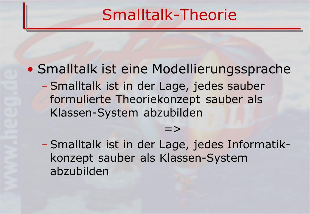 Smalltalk-Theorie Smalltalk ist eine Modellierungssprache –Smalltalk ist in der Lage, jedes sauber formulierte Theoriekonzept sauber als Klassen-System abzubilden => –Smalltalk ist in der Lage, jedes Informatik- konzept sauber als Klassen-System abzubilden