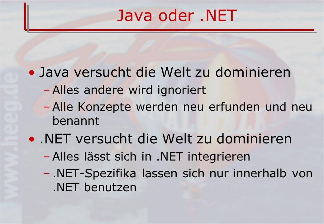 Java oder.NET Java versucht die Welt zu dominieren –Alles andere wird ignoriert –Alle Konzepte werden neu erfunden und neu benannt.NET versucht die Welt zu dominieren –Alles lässt sich in.NET integrieren –.NET-Spezifika lassen sich nur innerhalb von.NET benutzen