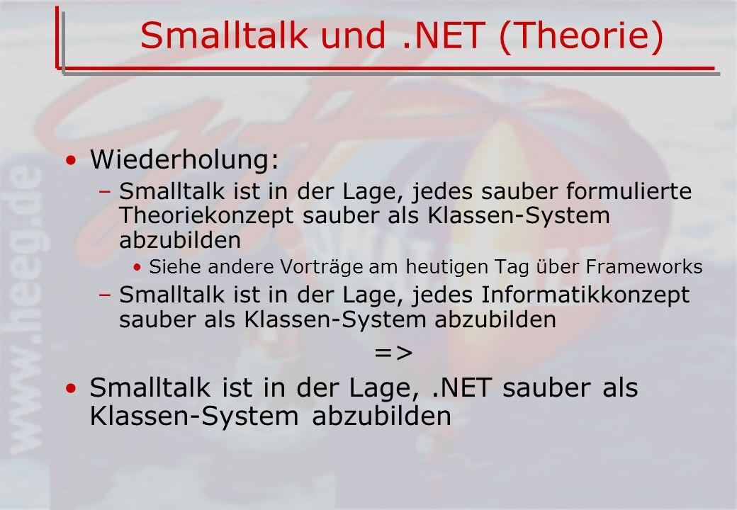 Smalltalk und.NET (Theorie) Wiederholung: –Smalltalk ist in der Lage, jedes sauber formulierte Theoriekonzept sauber als Klassen-System abzubilden Siehe andere Vorträge am heutigen Tag über Frameworks –Smalltalk ist in der Lage, jedes Informatikkonzept sauber als Klassen-System abzubilden => Smalltalk ist in der Lage,.NET sauber als Klassen-System abzubilden