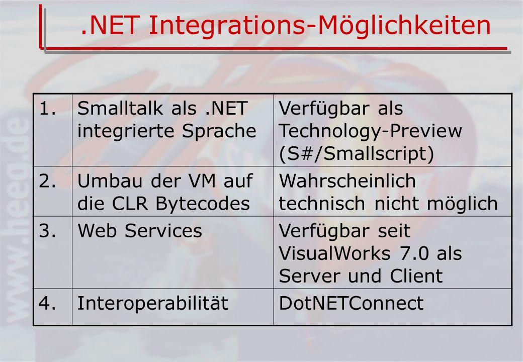 .NET Integrations-Möglichkeiten 1.Smalltalk als.NET integrierte Sprache Verfügbar als Technology-Preview (S#/Smallscript) 2.Umbau der VM auf die CLR Bytecodes Wahrscheinlich technisch nicht möglich 3.Web ServicesVerfügbar seit VisualWorks 7.0 als Server und Client 4.InteroperabilitätDotNETConnect