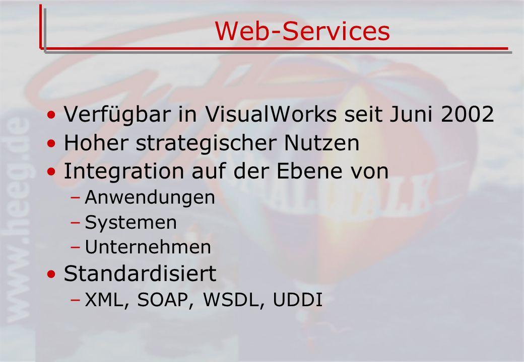 Web-Services Verfügbar in VisualWorks seit Juni 2002 Hoher strategischer Nutzen Integration auf der Ebene von –Anwendungen –Systemen –Unternehmen Standardisiert –XML, SOAP, WSDL, UDDI