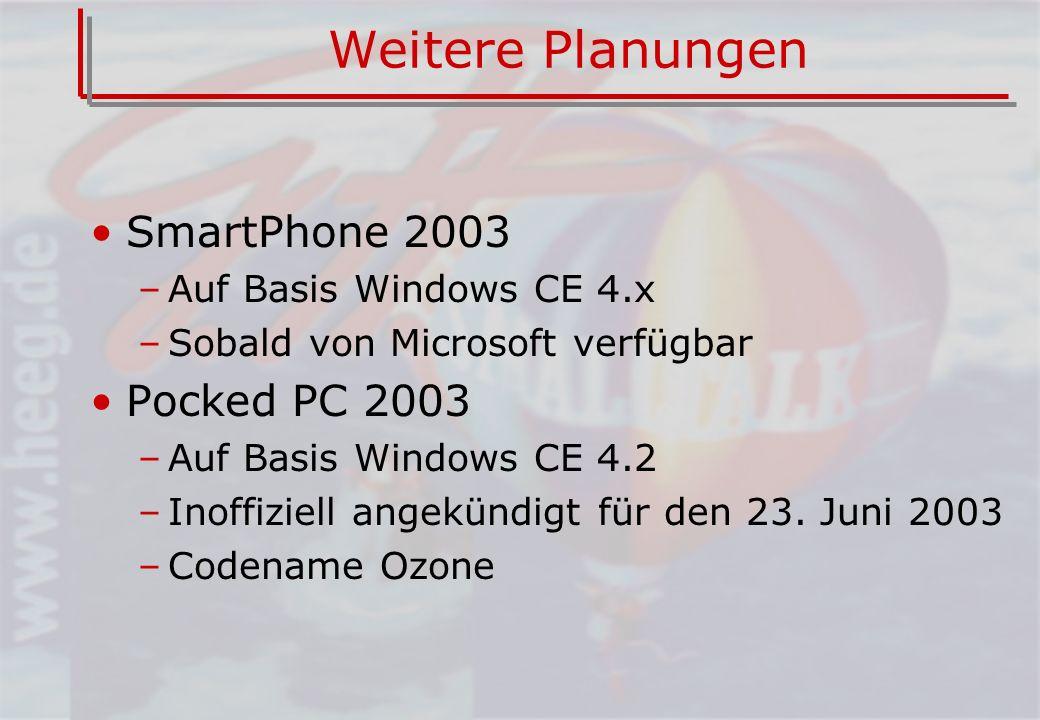 Weitere Planungen SmartPhone 2003 –Auf Basis Windows CE 4.x –Sobald von Microsoft verfügbar Pocked PC 2003 –Auf Basis Windows CE 4.2 –Inoffiziell angekündigt für den 23.