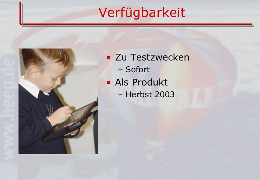 Verfügbarkeit Zu Testzwecken –Sofort Als Produkt –Herbst 2003