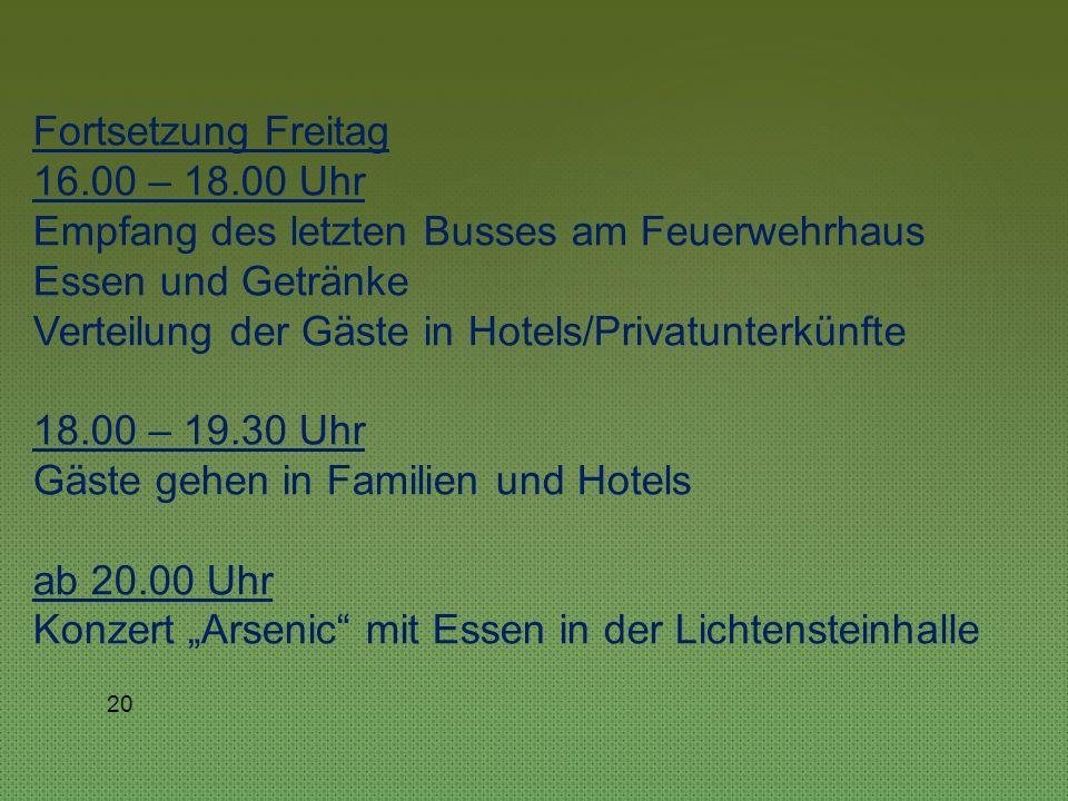 19 Begleitprogramm für die privaten Besucher: Freitag 9.00 – 17.00 Uhr Besuch Kloster Bebenhausen und Stadtführung Tübingen