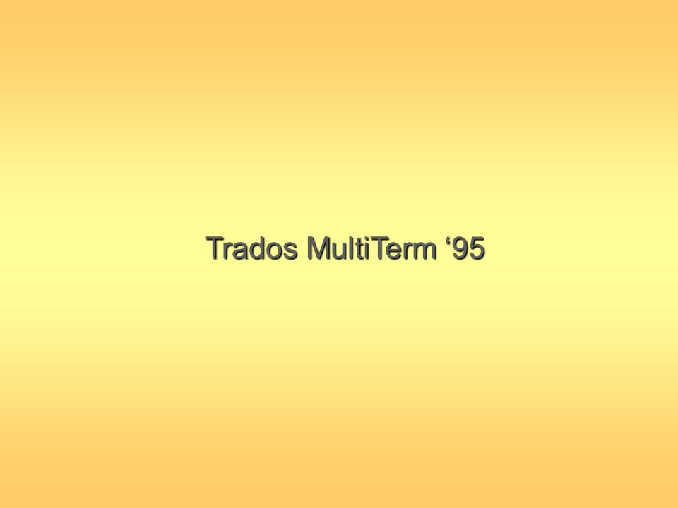 Trados MultiTerm 95