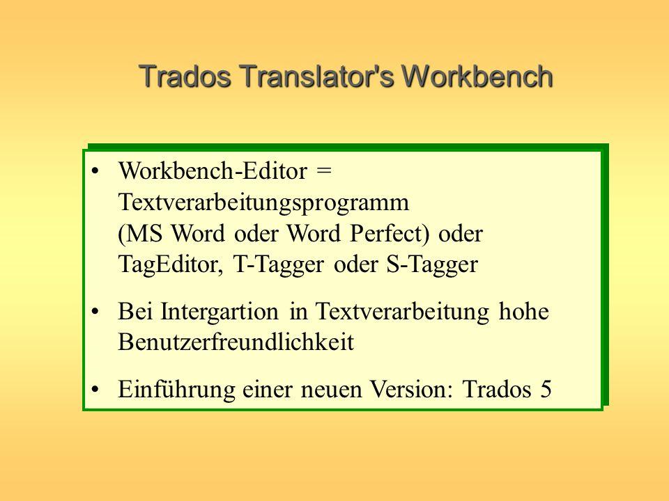 Workbench-Editor = Textverarbeitungsprogramm (MS Word oder Word Perfect) oder TagEditor, T-Tagger oder S-Tagger Bei Intergartion in Textverarbeitung h