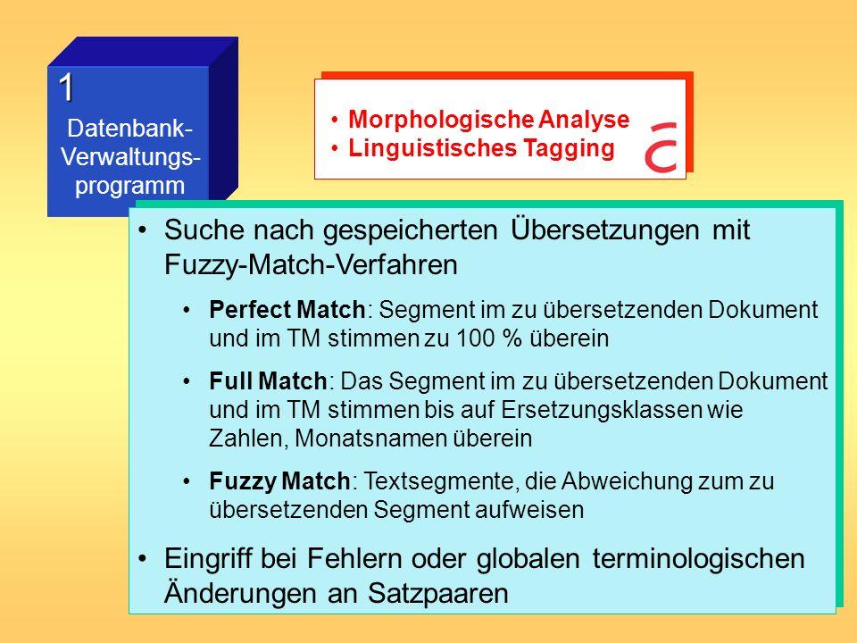 2 Terminologie- programm Möglichkeit des Imports elektronisch gespeicherter Glossare Translation Manager (IBM) wird mit Terminologie- Wörterbuch ausgeliefert, andere Firmen (Trados, Star) bieten Terminologie-Wörterbücher zusätzlich an einige Programme sind sehr komplex (Fuzzy- Match-Algorithmen ermöglichen Suche nach Wörtern mit derselben Wurzel) Möglichkeit, nach einzelnen Wörtern im TM zu suchen (in den meisten Programmen) Möglichkeit des Imports elektronisch gespeicherter Glossare Translation Manager (IBM) wird mit Terminologie- Wörterbuch ausgeliefert, andere Firmen (Trados, Star) bieten Terminologie-Wörterbücher zusätzlich an einige Programme sind sehr komplex (Fuzzy- Match-Algorithmen ermöglichen Suche nach Wörtern mit derselben Wurzel) Möglichkeit, nach einzelnen Wörtern im TM zu suchen (in den meisten Programmen) Morphologische Analyse Eintragsmodelle TM-Schnittstelle Workflow