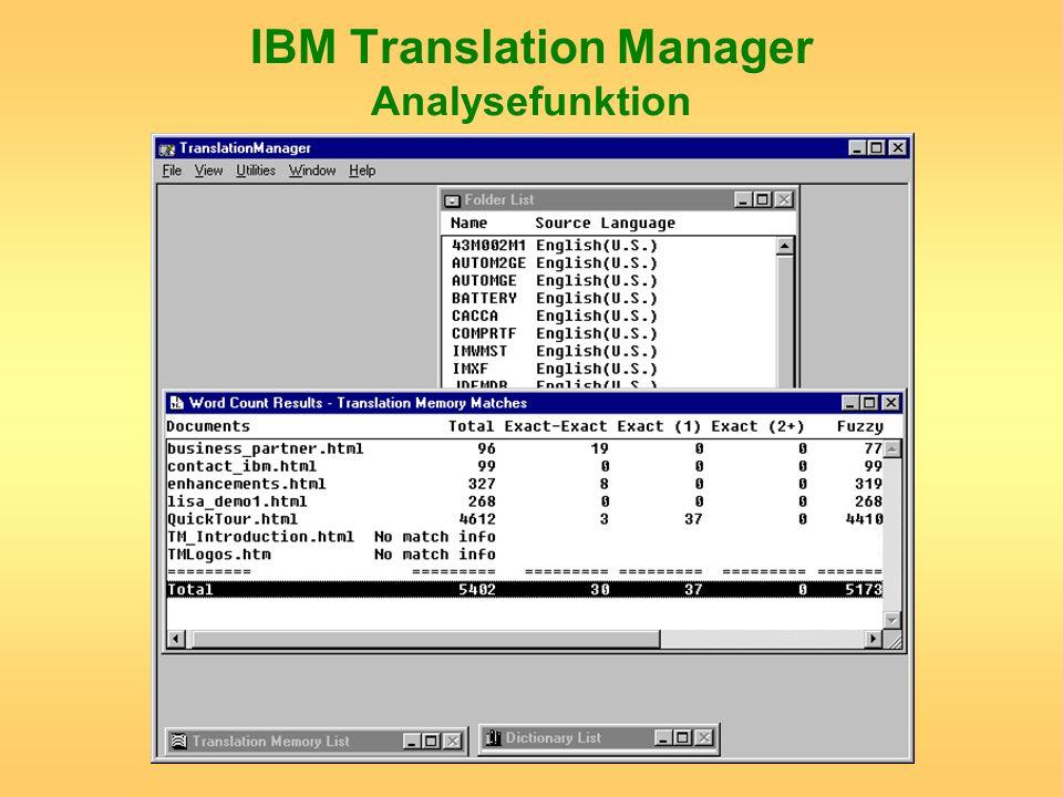 IBM Translation Manager Analysefunktion