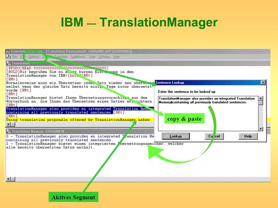 IBM TranslationManager Aktives Segment copy & paste