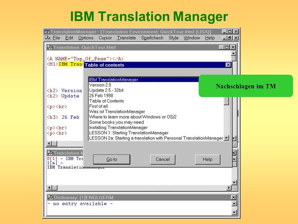 IBM Translation Manager Nachschlagen im TM