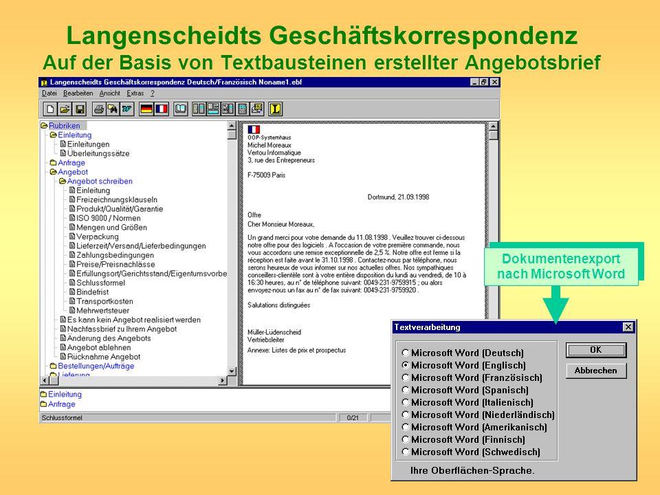 Langenscheidts Geschäftskorrespondenz Auf der Basis von Textbausteinen erstellter Angebotsbrief Dokumentenexport nach Microsoft Word