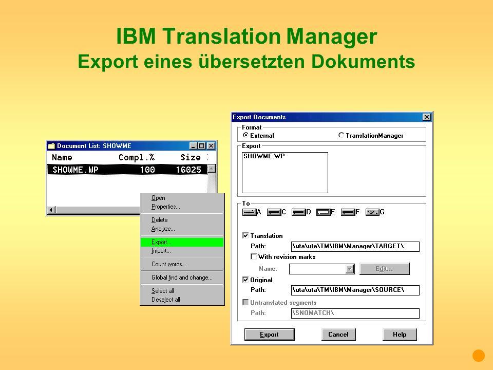 IBM Translation Manager Export eines übersetzten Dokuments
