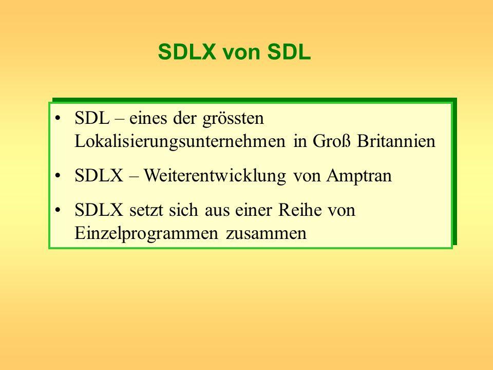 SDLX von SDL SDL – eines der grössten Lokalisierungsunternehmen in Groß Britannien SDLX – Weiterentwicklung von Amptran SDLX setzt sich aus einer Reih