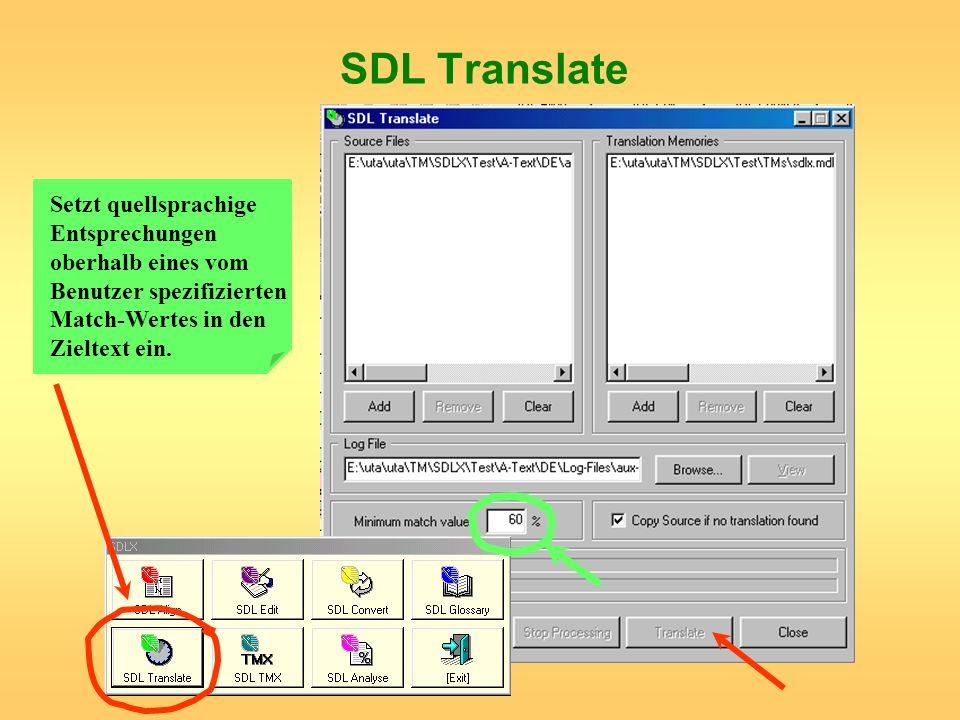 SDL Translate Setzt quellsprachige Entsprechungen oberhalb eines vom Benutzer spezifizierten Match-Wertes in den Zieltext ein.
