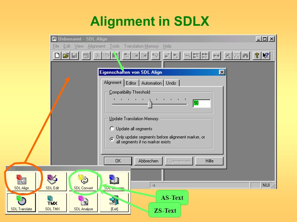 Alignment in SDLX AS-Text ZS-Text