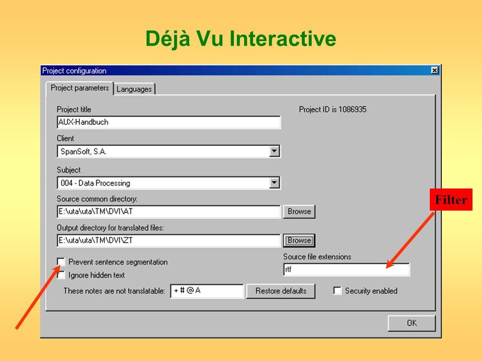 Déjà Vu Interactive Filter