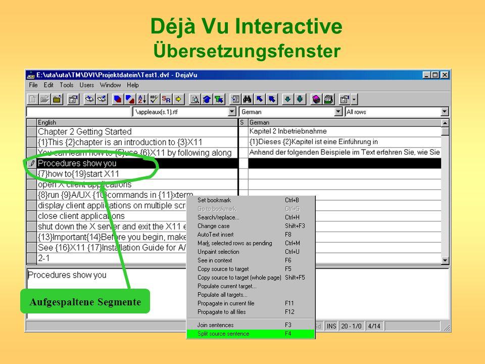 Déjà Vu Interactive Übersetzungsfenster Aufgespaltene Segmente