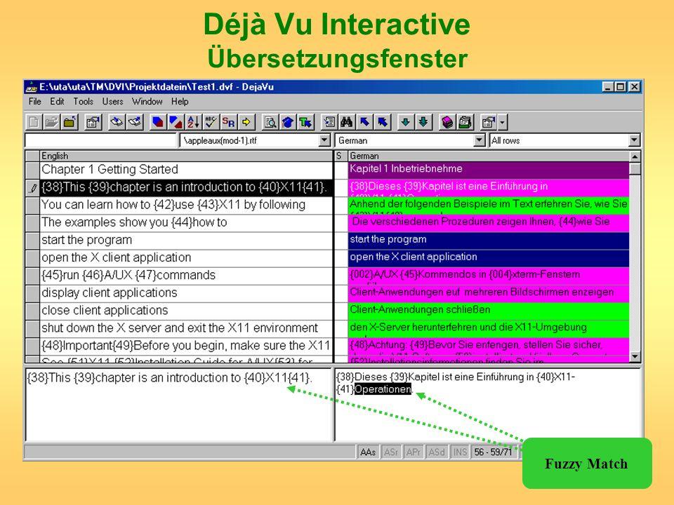 Déjà Vu Interactive Übersetzungsfenster Fuzzy Match