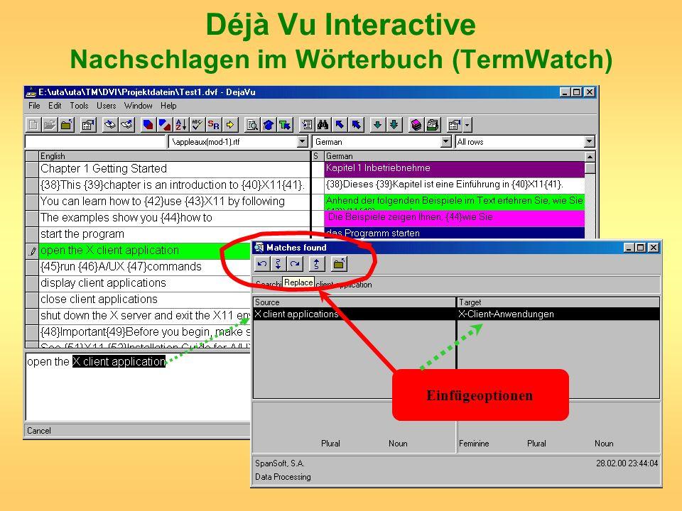 Déjà Vu Interactive Nachschlagen im Wörterbuch (TermWatch) Einfügeoptionen