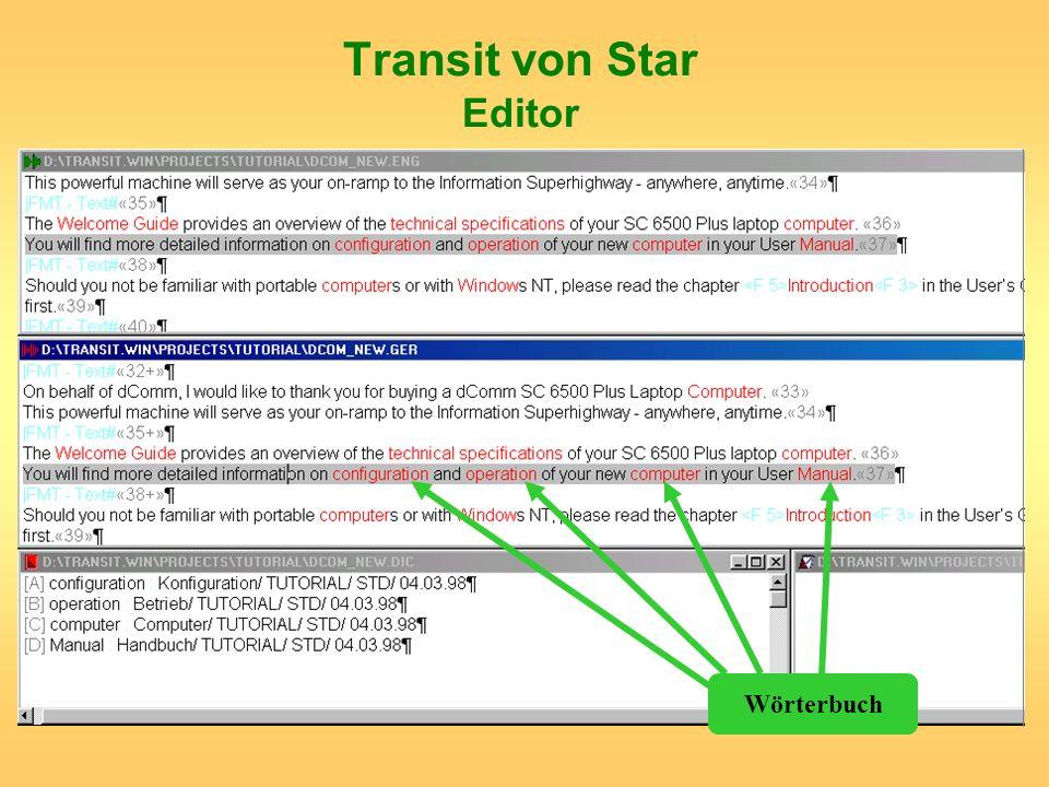 Transit von Star Editor Wörterbuch