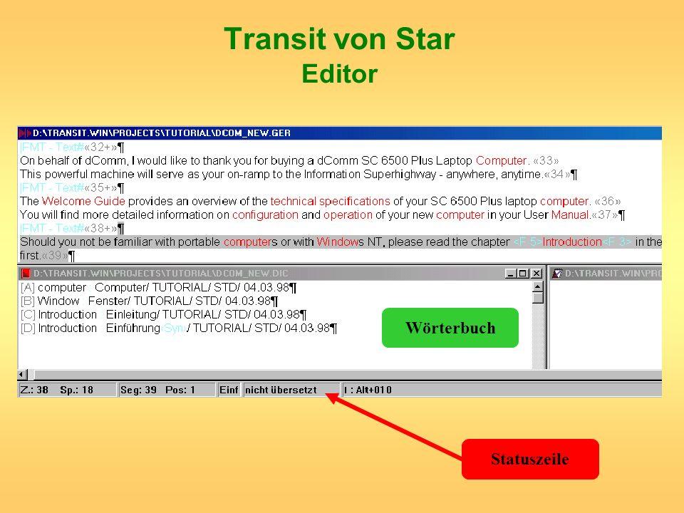 Transit von Star Editor Statuszeile Wörterbuch