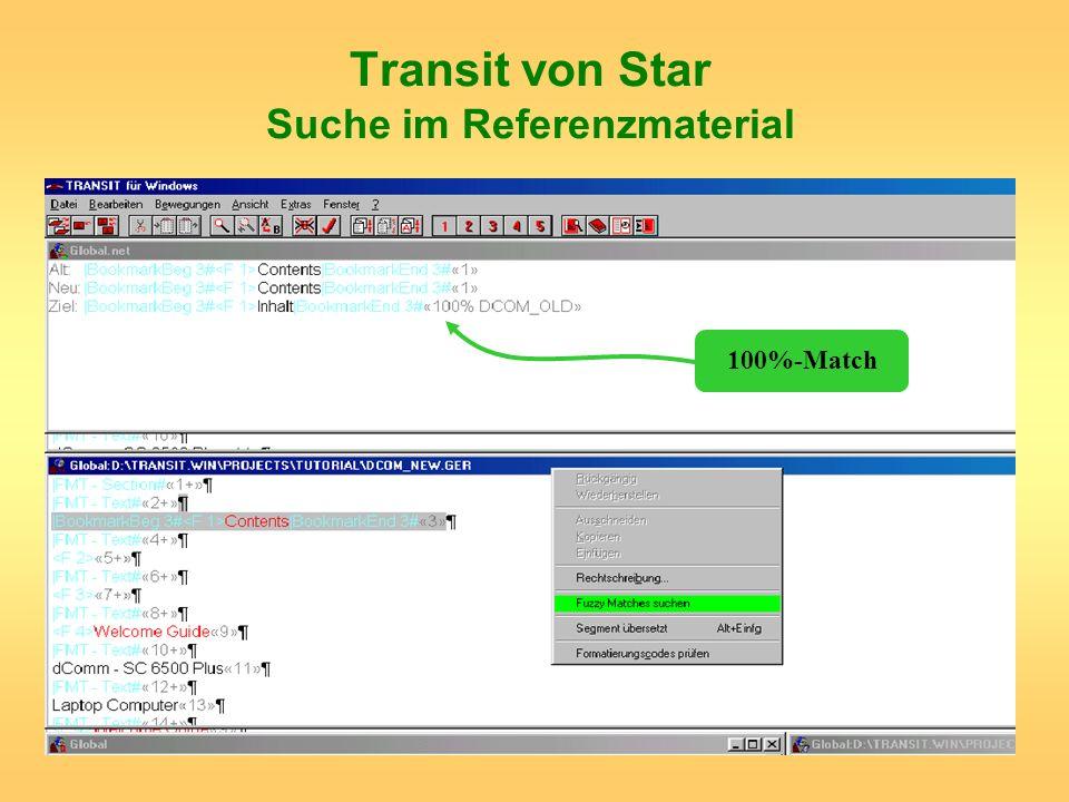 Transit von Star Suche im Referenzmaterial 100%-Match