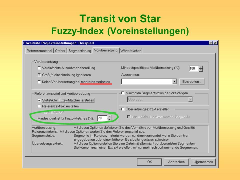 Transit von Star Fuzzy-Index (Voreinstellungen)