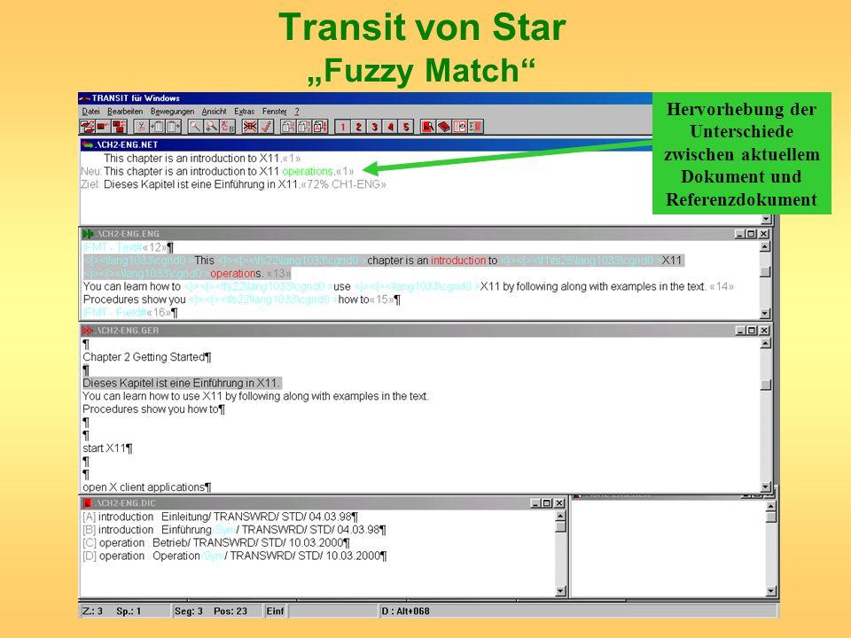 Transit von Star Fuzzy Match Hervorhebung der Unterschiede zwischen aktuellem Dokument und Referenzdokument
