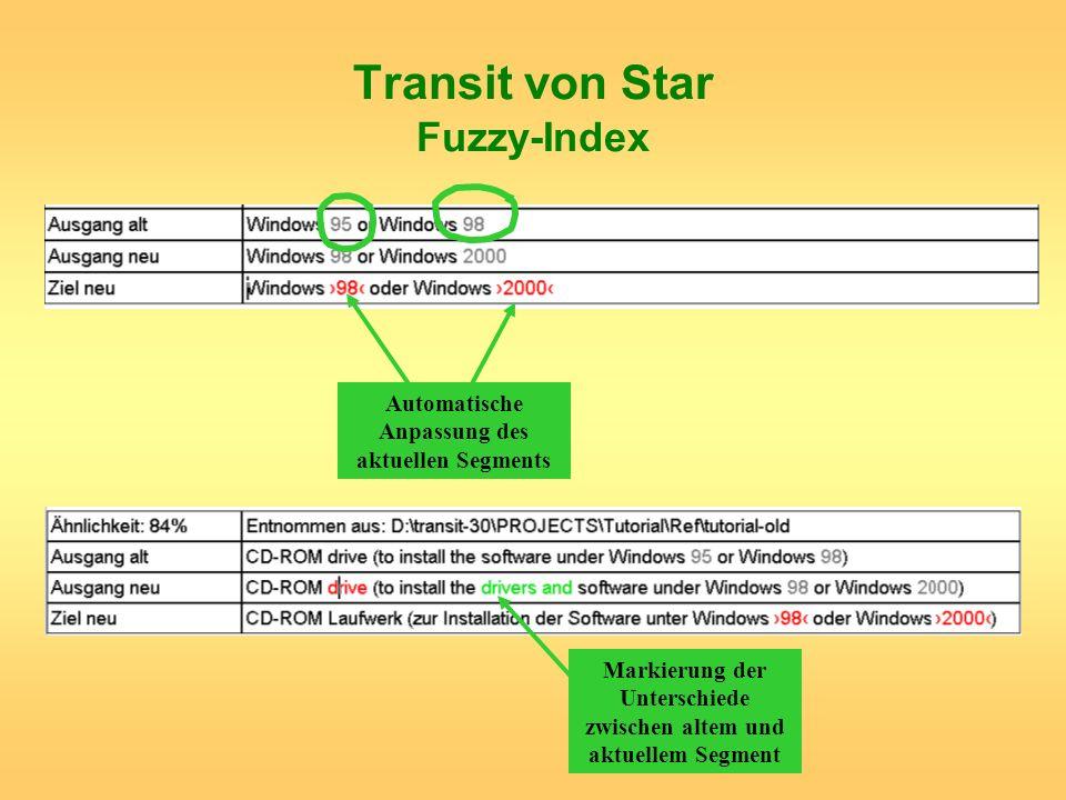 Transit von Star Fuzzy-Index Automatische Anpassung des aktuellen Segments Markierung der Unterschiede zwischen altem und aktuellem Segment